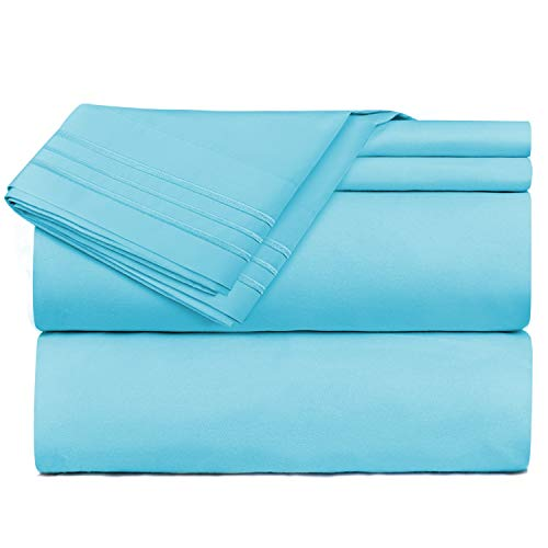 Bed Sheets, Queen, Beach Blue - Best Quality Bedding Set Sheets on Amazon, 4-Piece Bed Set, Deep Pockets Fitted Sheet, 100% Luxury Soft Microfiber - Hypoallergenic, Cool & Breathable (Sheets Bedding Beach)