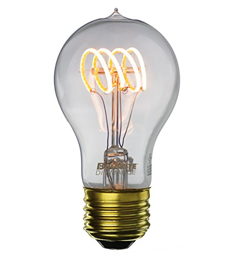 LED Edison Bulb A19, Curved Vintage Spiral Loop Filament, 4w