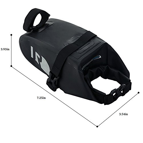 BicycleStore the Newest Bike Saddle Bag Waterproof Bicycle Seat Pack With PVC Net Clamping Cloth Lightweight & Adjustable Seat Bag Black