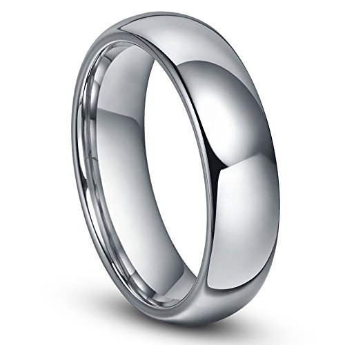 6MM Tungsten Men's Plain Dome Wedding Band Ring Sz 7.5