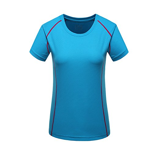 Laixing Buena Calidad Womens Casual Outdoor Sports Quick Dry Slim Fit T-Shirt Tops Short Sleeve Blue