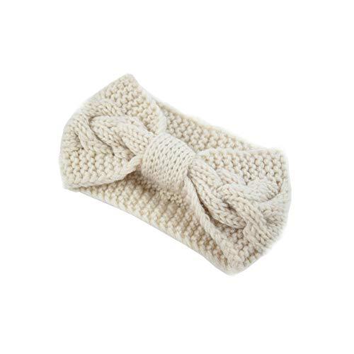 vmree Women Stretchy Manual Knitted Twist Bow Headband Warm Crochet Headwrap Turban (Beige)