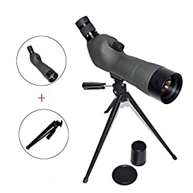 OTW Spotting Scope Prism Zoom Monocular Waterproof 45-Degree 20-60x60AE Comfortable Angled Eyepiece Spotting Scope / Telescope with Tripod for Observing Hunting Outdoor Sports