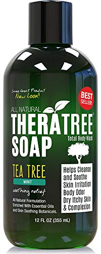 TheraTree Tea Tree Oil Soap with Neem Oil - 12oz - Helps Skin Irritation, Body Odor, Helps Restore Healthy Complexion for Body and Face by Oleavine - Soak Body Therapeutic