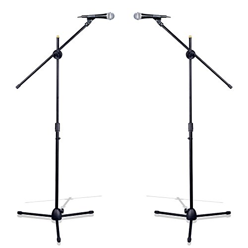 "Pyle Universal Tripod Microphone Stand - Pair of Adjustable Height 27.5"" to 52"" High and Extendable Boom Length 24"" w/ Lock Tension Knob - 2 M-6 Microphone Holder and Heavy Duty Carry Bag PMKSKT35 (Pyle Pro Tripod)"