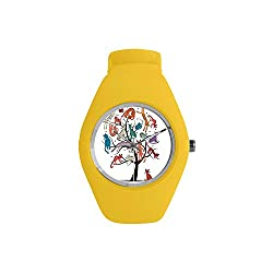 Cartoon Decor Candy Style Watch,Cute Cat Tree with Various Kitties on The Branches Little Paws Childish Cheerful Art Work for Fashion,Diameter(Watch face): 1.26''R