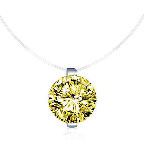 Infinite U Solitaire Pendant 925 Sterling Silver Yellow Cubic Zirconia CZ with Transparent Chain Necklace for Women 16