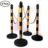 SHAREWIN Crowd Control Plastic Stanchion Posts Set Barrier(Yellow and Black) with 40''Chain and C-Hooks, Pack of 4