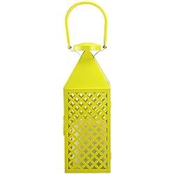 "Kaemingk Fancy Fair Lemon Yellow Diamond Patterned Pillar Candle Lantern 13.5"""
