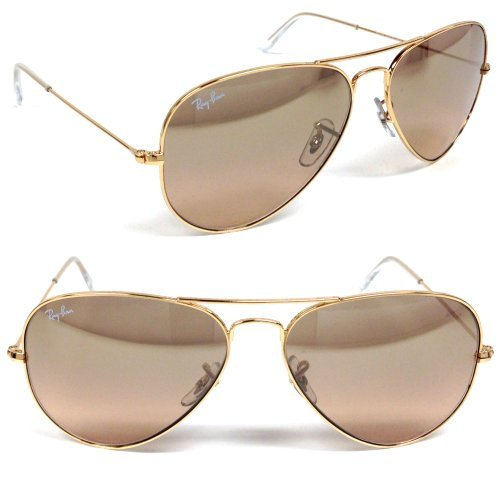 Ray Ban Aviator RB3025 001/3E Arista/Crystal Brown-Pink Silver Mirror 62mm - Ban Sunglasses Mirror Aviator Ray