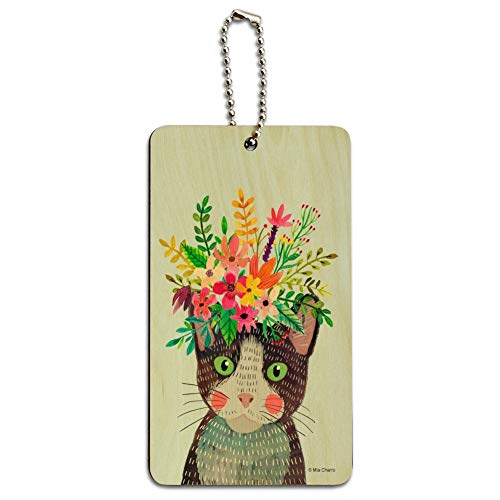 - Intense Cat with Flower Hair Wood Luggage Card Suitcase Carry-On ID Tag
