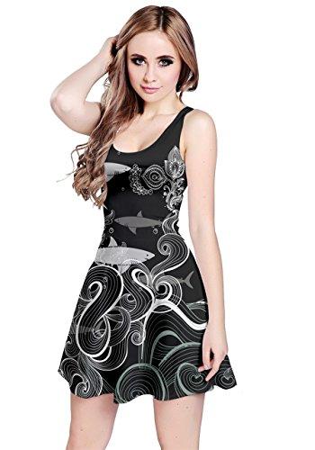 Spandex Reversible Skirt (CowCow Womens Shark in Dark Reversible Sleeveless Dress, in Dark - 5XL)