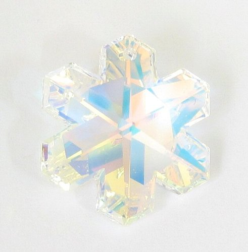 1 pc Swarovski Crystal 6704 Snowflake Charm Pendant Clear AB 25mm / Findings/Crystallized Element