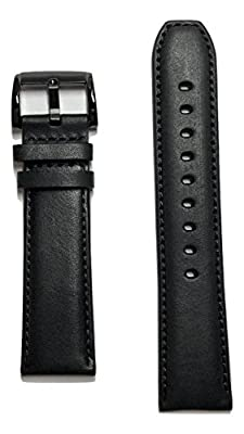 22mm Movado Bold Black Leather Watch Band Strap with Black Buckle [22mm Band Width] from Movado