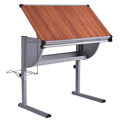 Drawing Desk Drafting Painting Table Durable Steel And Wooden Construction Art And Craft Hobby Studio Architect Work Foldable Adjustable Workstation Metal Shelf Tools Storage Two Rulers At Table Edge by HPW