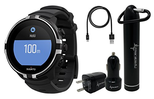 Suunto Spartan Sport Wrist HR Multisport GPS Watch with Color Touch Screen and Wearable4U Ultimate Power Pack Bundle (BARO Stealth) For Sale
