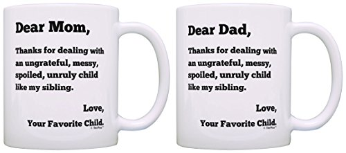 Anniversary Gifts for Parents Dear Dad and Dear Mom Thanks for Putting Up with Spoiled Child Like My Sibling Love Your Favorite Funny Parents Gift 2 Pack Gift Coffee Mugs Tea Cups Mom and Dad (Best Gift For My Parents Anniversary)