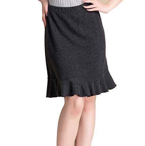 Women's Silk Cashmere Knit Skirt with Falbala Black M