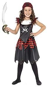 Smiffy's Smiffys-32341S Disfraz de Chica de Calavera de Pirata y Huesos Cruzados, con Vestido y pañoleta para la Cabeza Color Negro S - Edad 4-6 años 32341S