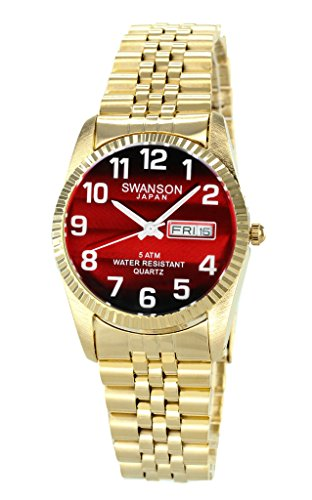 Swanson Men's Gold Day-Date Watch Red Dial with Large White Numbers with Travel Case