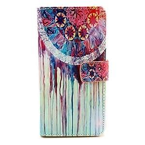 Patrón acuarela caso de cuero de la PU con cierre magnético y ranura para tarjetas de wiko arco iris