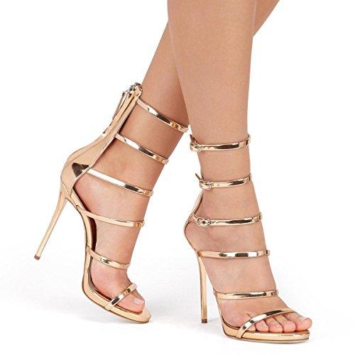 46 Patent reißverschluss Toe Plattform Offene Frauen Herbst Heels Sandalen 34 Spitze High Größe Glänzende Blumen Elobaby qvFwa68F