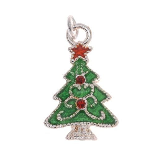 Delight Beads Silver Plated Enamel Charm Christmas Tree Adorned with Swarovski Elements Crystal 19mm (1) ()