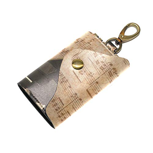 Large Leather Pocket key organizer case Piano And Retro Sheet Music unisex keychain holder Ring With 6 hoods Snap Closure ()