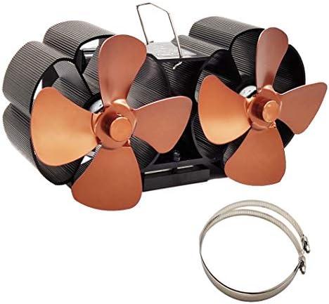 暖炉ファン8ブレード加熱式ストーブファン暖炉ファンツインモーターWoodストーブファン,ブラウン
