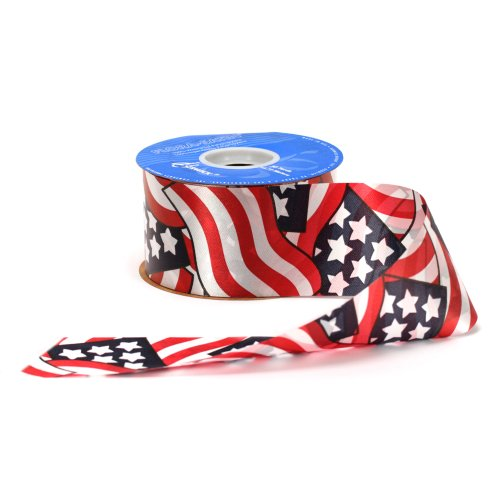 Berwick AAJ4076 2-3/8-Inch Wide by 50-Yard Spool Glory Flag Print Flora Satin Craft Ribbon, Red/White/Blue -