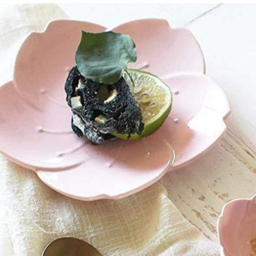 SMC plates Japanese-style Romantic Cherry Blossoms Ceramics Tableware Breakfast Plate Western Food Steak Bone China Plate Dinner Plate Vinegar Dish Dessert Fruit Plate Powder White - Faceplates Cherry