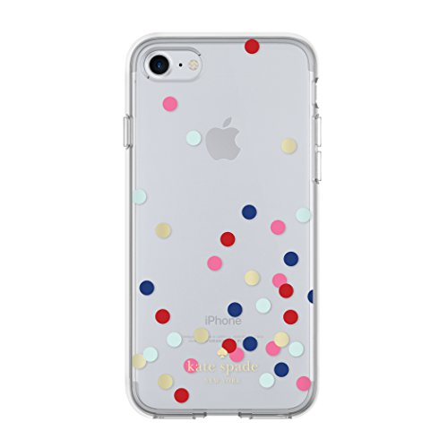 Clear Confetti Dot (kate spade new york Flexible Hardshell Case for iPhone 8 - also compatible with iPhone 7 - Confetti Dot Clear/Multi/Gold)