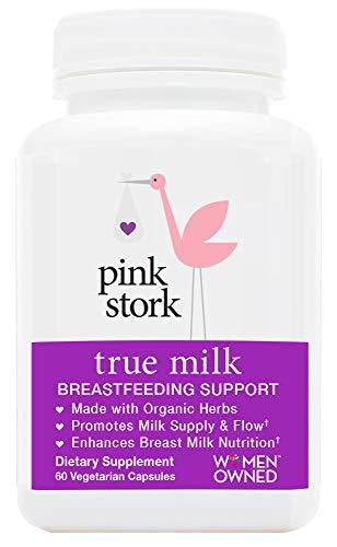 Pink Stork True Milk: Organic Lactation and Breastfeeding Support -Increase Breastmilk Supply & Flow -Enhances & Enriches Breastmilk Nutrition -Helps Gassy Babies -60 Capsules (Foods That Help Increase Breast Milk Production)