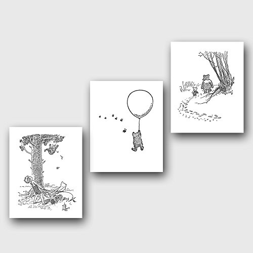 (Set of 3) Classic Winnie the Pooh Black and White Art Prints (Nursery Wall Decor)