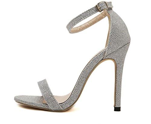 Donne YCMDM'S 35-43 grandi pattini romani degli alti talloni dei sandali singola scarpa Scarpe Casual , silver , 38
