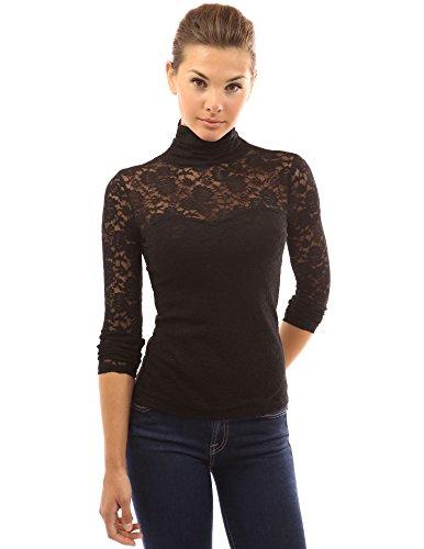 femmes PattyBoutik blouse manches longues transparente Noir en dentelle roul col RqdwTqA