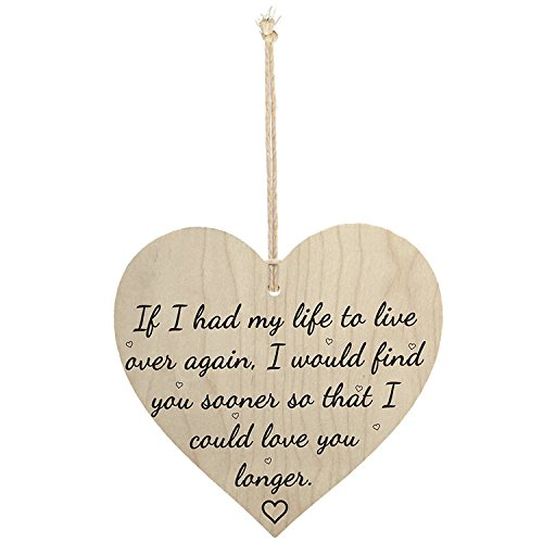 Meijiafei Love You Longer Wooden Hanging Heart Shaped Plaque Anniversary Sign ()