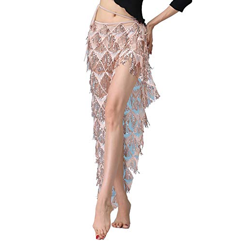 MUNAFIE Hip Scarf for Belly Dance Folk Dance Halloween Costume Tribal Dance Skirt with Sequin Tassel Champagne