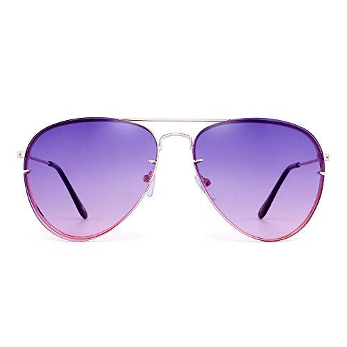 Hommes Or Oceanic Femmes De Classique Lunettes Violet Lentille Teinté Aviateur Métal Cadre Gradient Soleil Jm q1P07wO7
