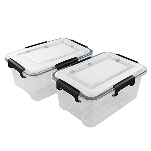 Eagrye 10 L Clear Latch Boxes, 2-Pack