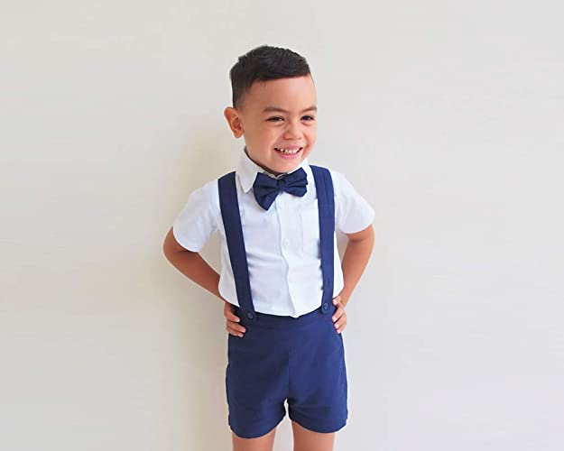 9282c5f1f Boy Suspender Shorts - Navy, Boy Linen Shorts, Boy Linen Shorts, Linen  Pants, Pageboy, Christening Outfit, Ring Bearer outfit, Baptism outfit, boy  suit ...