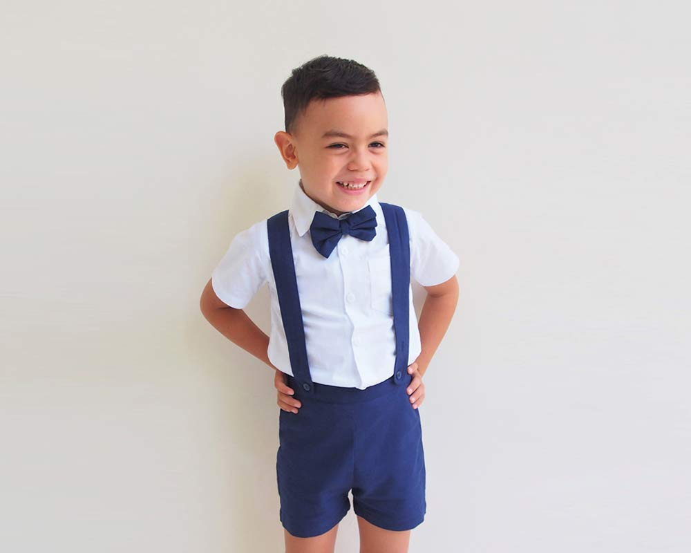 ring bearer outfit Baby boy suspender shorts baby wedding outfit formal wear