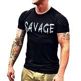 Men T-Shirt Short Sleeve Casual Fashion Shirt Letter Print Top Blouse (M, Black)
