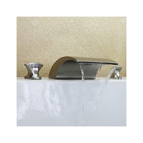 80%OFF W&P Contemporary Widespread Waterfall with Ceramic Valve Two Handles Three Holes for Nickel Brushed , Bathroom Sink Faucet