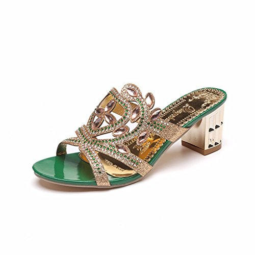 Dérapage Heels green High Nocturne Women's YUCH Mule Sandales FqTX6xw