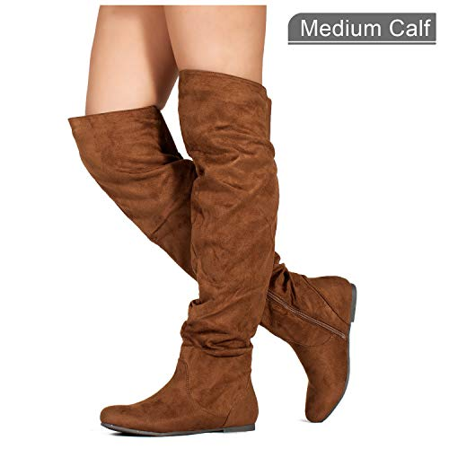 Boots Womens Flat Camel (RF ROOM OF FASHION Stretchy Over The Knee Slouchy Boots (Medium Calf) Camel (10))