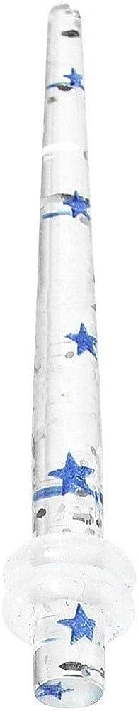 yati/_bo 1 Pcs 8 Gauge Clear Acrylic Glitter Blue Star Confetti Taper