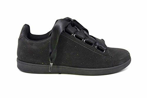 Baskets Toile Satin Noire SHY54 avec et Effet Semelle Ruban Réfléchissant Sneakers Noir 3D Tennis Lumière fwFgF