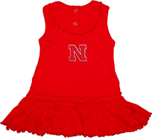 - University of Nebraska Huskers Block N Logo Ruffled Tank Top Dress with Bloomer Set Red
