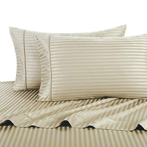 (Royal Hotel Stripe Tan Queen Size Sheets, 4PC Bed Sheet Set, 100% Cotton, 300 Thread Count, Sateen Striped, Deep Pocket)